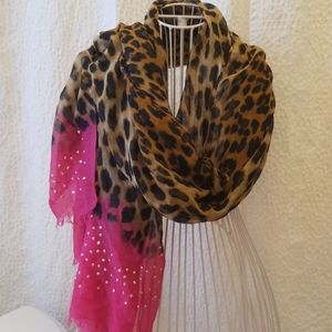 Animal print & pink scarf